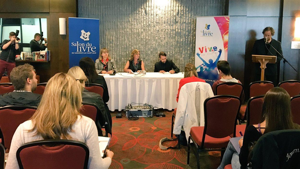 La conférence de presse du Salon du livre, mardi matin.