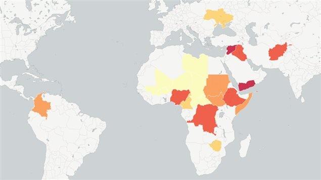 Carte des principales crises humanitaires dans le monde