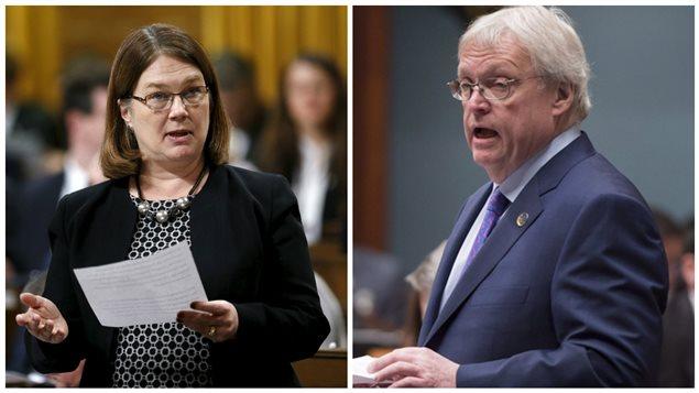 La ministre de la Santé fédérale, Jane Philpott, et le ministre de la Santé du Québec, Gaétan Barrette.