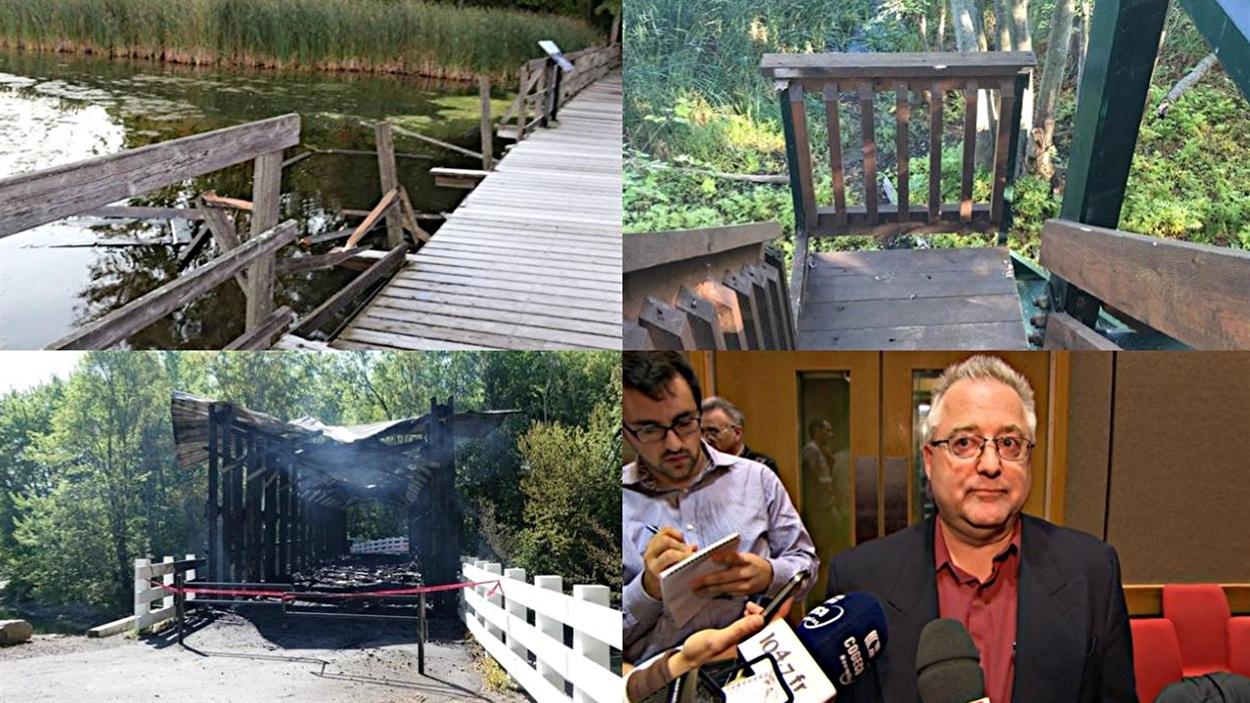 Des dommages au parc de la Baie-McLaurin, l'incendie du pont Brabant-Philippe et le conseiller du district de la Rivière-Blanche, Jean Lessard