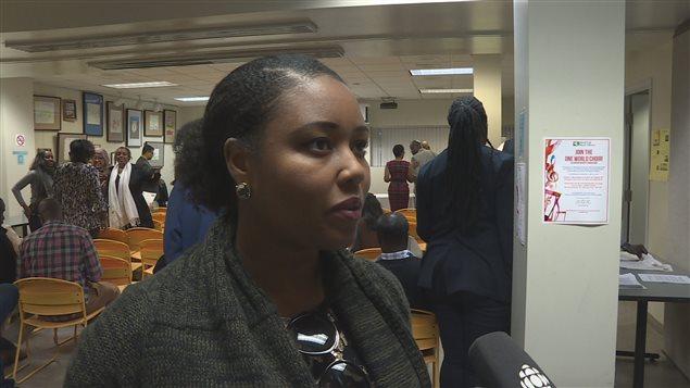 Lavinia Lathem de l'organisme African Canadian Legal Clinic a pris part à la rencontre avec la délégation de l'ONU.