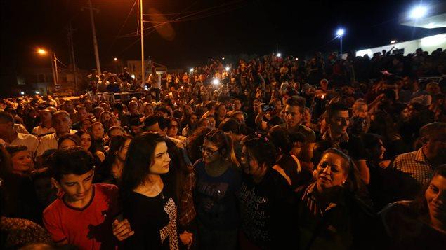 Des célébrations spontanées dans les rues d'Erbil.