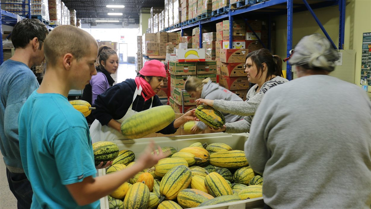 Bénévoles dans une banque alimentaire