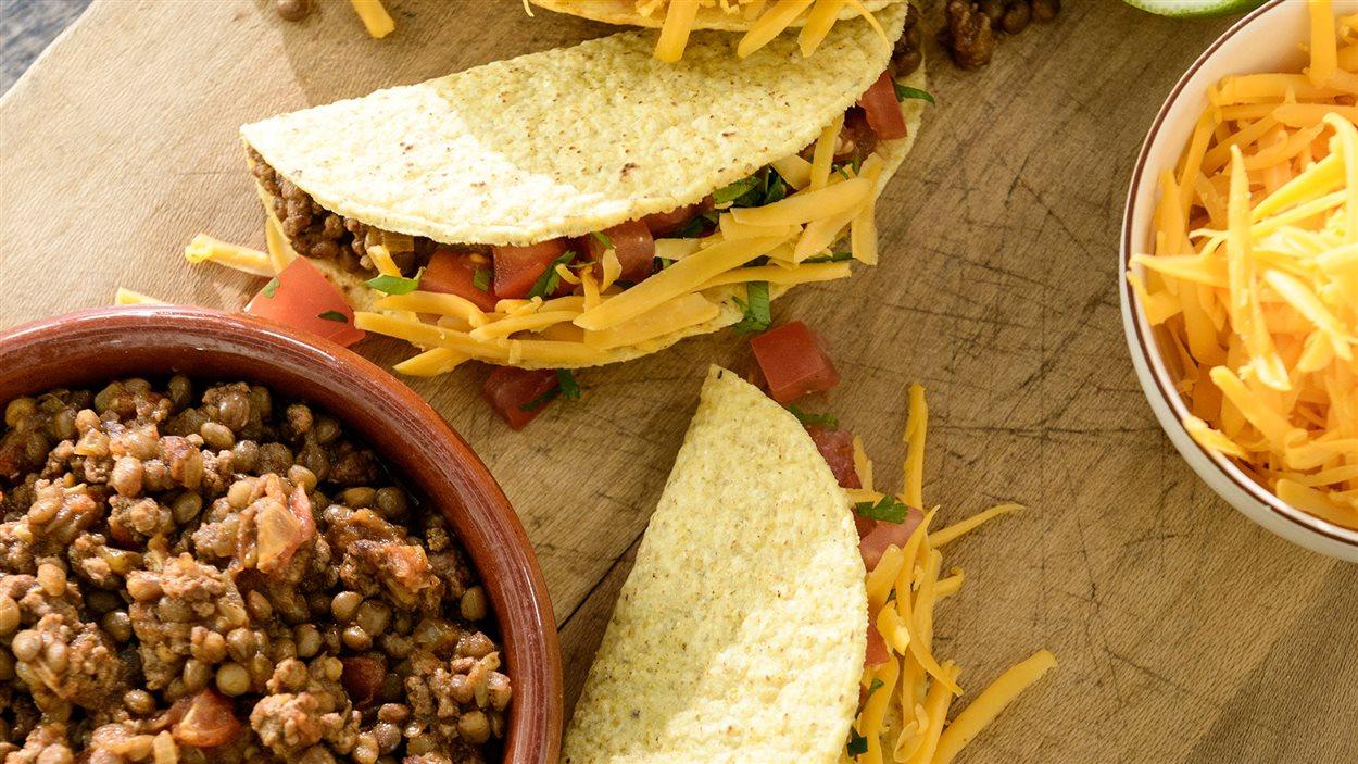 Tacos au bœuf et aux lentilles
