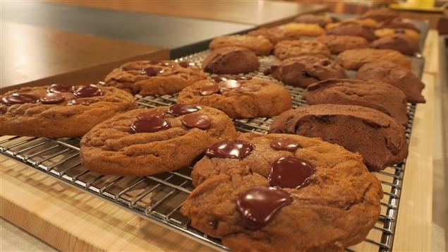 Des galettes pattes d'ours avec un peu de chocolat sur le dessus