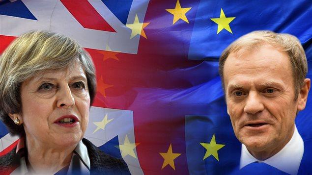 La Première ministre Theresa May et le président du Conseil de l'Union européenne Donald Tusk.